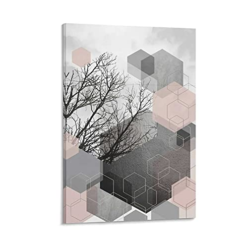 DRAGON VINES Póster abstracto de acuarela gris y ruborizado natural gris cielo impresión Hd cuadro cartel residencial decoración de la habitación de oficina 60 x 90 cm