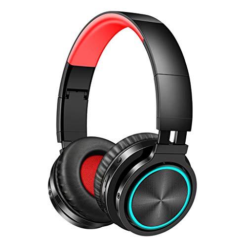 Nobranded Auriculares inalámbricos Bluetooth estéreo con Gran bajo montado en la Cabeza Ligero Plegable cómodo con Modo con Cable para teléfono móvil de la - Negro Rojo