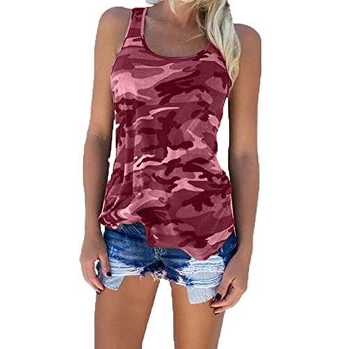 Verano Mujer Imprimir Top Moda Mujer Casual Camuflaje Camiseta Sin Mangas Sin Mangas O-Cuello Camisetas Delgadas