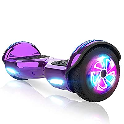 "M MEGAWHEELS 6.5"" Electric Scooters Self-Balancing Hover Scooter board for Kids with Built-in Wireless Speaker, LED Lights and UL Certified, Max Load 100kg, 500W Motor Purple…"
