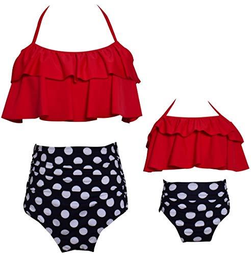 Matching Swimsuit Ruffle Women Swimwear Toddler Children Bikini Bathing Suit Beachwear Sets Size 1-2 Years
