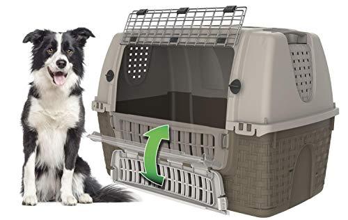 PETGARD Transportbox Autobox Hundebox Easy Tour 88 x 52 x 60 cm grau-hellgrau
