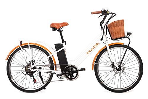 biwbik Vélo électrique Mod. Gante Batterie Lithium ION 36V 12Ah (Gante White HD)