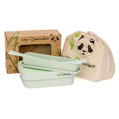 myQuamboo Lunchbox aus Bambusfasern inkl. Besteckset & Lunchbag | Bento Lunchbox mit Trennwand BPA frei | Pausenbrot- und Snackbox für Arbeit, Schule, zu Hause oder unterwegs | mikrowellenfest (Grün)