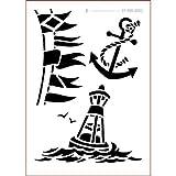 graphits Schablone Shabby Chic Kreativbaukasten maritim, 01-800-0002, Fahne, Anker, Boje als Wandschablone, Textilschablone, Möbelschablone, Keilrahmengestaltung und Deko, Schablonengröße...