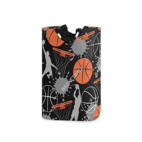 Cesto de la ropa Deportivo Patrón de jugador de baloncesto Cesta de lavandería plegable Bolsa de almacenamiento grande, Organizador plegable Bolsa de ropa con asa para el hogar, dormitorio, habitación
