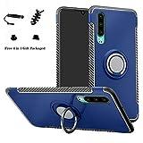 lfdz huawei p30 custodia, resistente tpu case design 360 grado rotazione protective custodia cover per huawei p30 smartphone (non compatibile con huawei p30 pro / p30 plus),blu