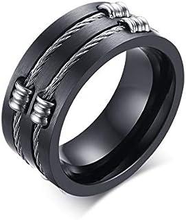 WIA الفولاذ المقاوم للصدأ الأسود مجوهرات حلقة الذيل الدائري الرجال الأصلي الدائري