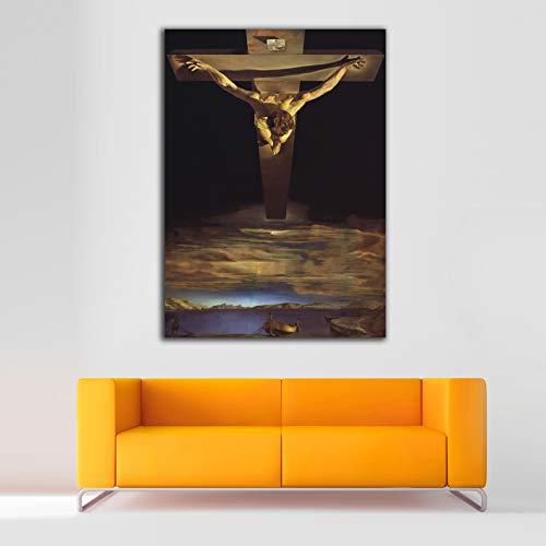 Desconocido Cuadro Lienzo Cristo de San Juan de la Cruz Salvador Dali – Varias Medidas - Lienzo de Tela Bastidor de Madera de 3 cm - Impresion Alta resolucion (43, 60)