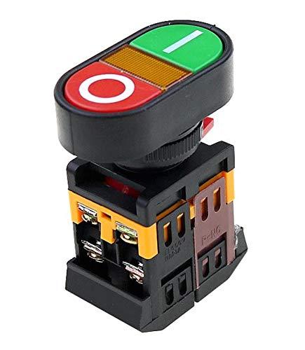 Flyuzi 22mm 22 0V CA ON/Off Start Stop 1 NO NC APBB-22N Doble Llave Doble posición con DIRIGIÓ Restablecimiento de botón de Control Amarillo de la lámpara (Voltage : 36V)