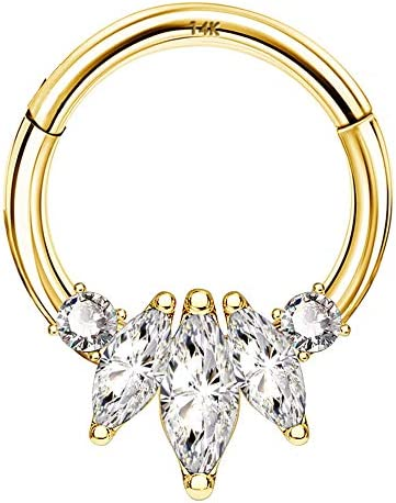 COCHARM septum jewelry 14K Solid Gold Cartilage Earring Hoop 16G Septum Ring Nose Ring Daith product image