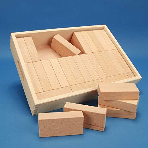 """Fröbel-Bausteine-Set """"Spezial 29"""" in der flachen unbehandelten Griffmulden-Buchen-Kiste aus der Manufaktur Tischlerschuppen"""