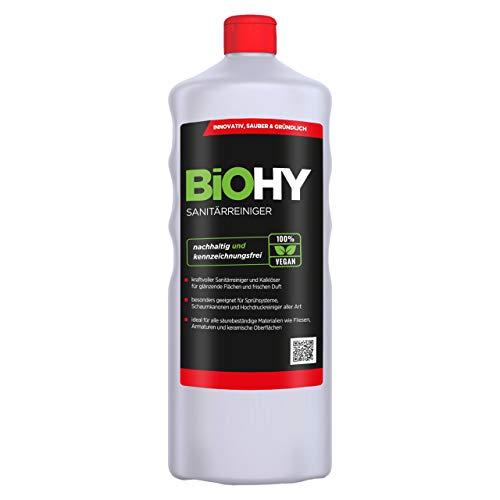 BiOHY Sanitärreiniger (1l Flasche) | Kalkzersetzendes Konzentrat für den Sanitärbereich | Badreiniger mit angenehme & frischen Duft | EXTRA STARK
