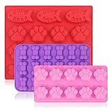 3 pezzi in silicone Candy cioccolato stampi, FineGood Fish & Puppy Paw & Bone teglia per biscotti a forma di cubetti di ghiaccio per fare Frozen Dog Treats saponetta - rosso, viola, rosa