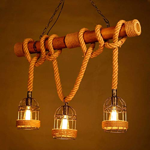 XLTT Retro Edison Chandelier E27 Lamp Socket Retro Antique Industrial Hemp Rope Bamboo Light 3 Light Chandelier Personality Brown Antique Cage Adjustable Height Ceiling Light Max 60W L70cm