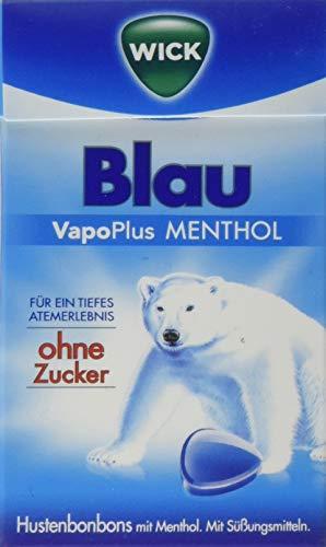 WICK Blau Hustenbonbons ohne Zucker – ein tiefes Atemerlebnis dank Menthol und natürlichem Arvensis Minz-Aroma - 10er Pack (10 x 46 g)