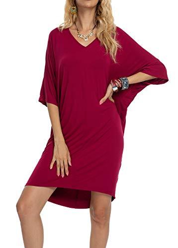 LQBZ Womens Summer Short Sleeve Oversized T Shirt Work Casual Midi Dress Wine Red M