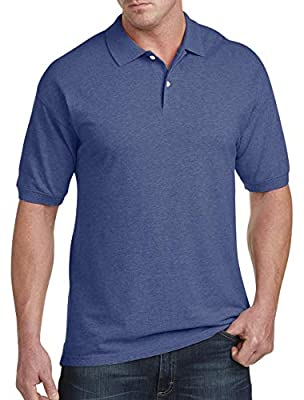 Harbor Bay by DXL Big and Tall Pique Polo Shirt, Limoges Heather, 2XLT
