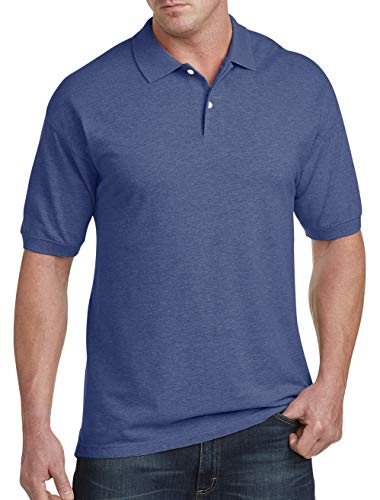Harbor Bay by DXL Big and Tall Pique Polo Shirt, Limoges Heather, 2XL