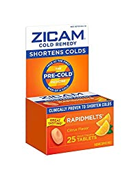 Zicam Cold Remedy Citrus RapidMelts, 25 Quick Dissolve Tablets, Clinically Proven to Shorten Colds W