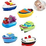 DQTYE 6Pcs Barcos flotantes de Juguete para baño, Bebé Squirt Suave Juguetes de baño Bañera de Dibujos Animados PU Nave de Goma Juego de Agua Aprendizaje de Juguetes educativos para niños pequeños