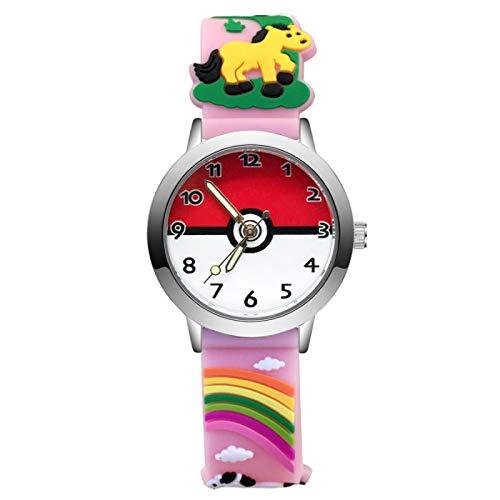 SFBBBO Reloj niño Moda Dibujos Animados Lindo Estilo Bonito Relojes para niños niños Estudiante niña niños Cuarzo 3D Reloj de Pulsera de Silicona Rosa