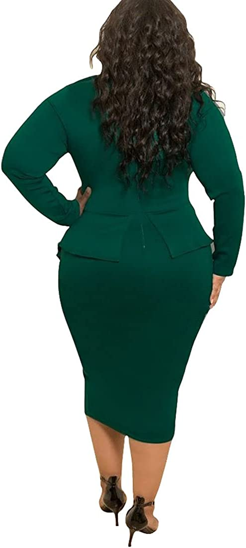 Nhicdns Plus Size Peplum Dress for Women Tie Neck Bodycon Formal Cocktail Funeral Midi Dresses