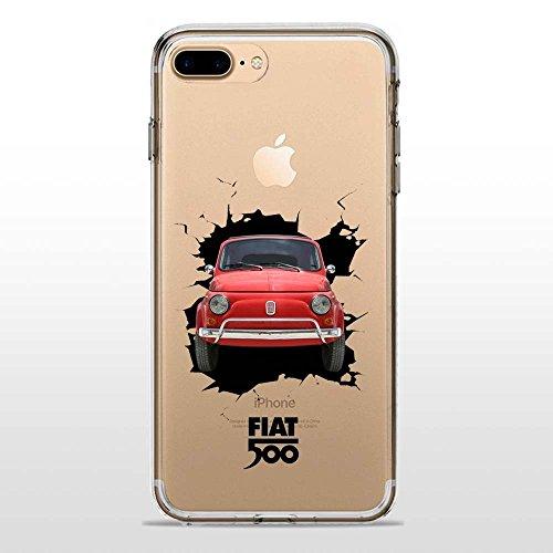 SLIDE IP7 Plus / IP8 Plus Cover TPU Gel Trasparente Morbida Custodia Protettiva, Special Vintage Collection, 500 Crash, iPhone 7 Plus, iPhone 8 Plus