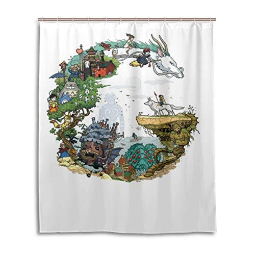 HUHAOSC Miyazaki Hayao and Chihiro Totoro Bath Shower Curtain Waterproof Fabric Shower Curtains 60x72 Inch