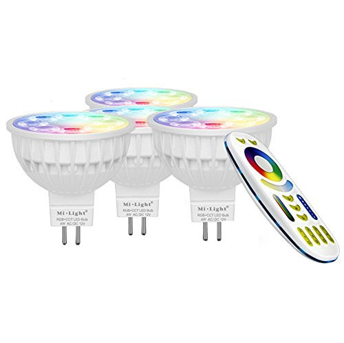 LIGHTEU®, 4x 4W 12V GU5.3 MR16 RGB + CCT LED-Strahler Farbwechsel und CCT WW CW Temperatur einstellbar, original Mi-Light, Glühlampe mit 4-Zonen-Fernbedienung (4x FUT104 + FUT092)