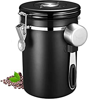 Coffee Canister by U-HOOME Airtight Stainless Steel Kitchen Food Storage Container with Date Tracker and Scoop for Beans, ...