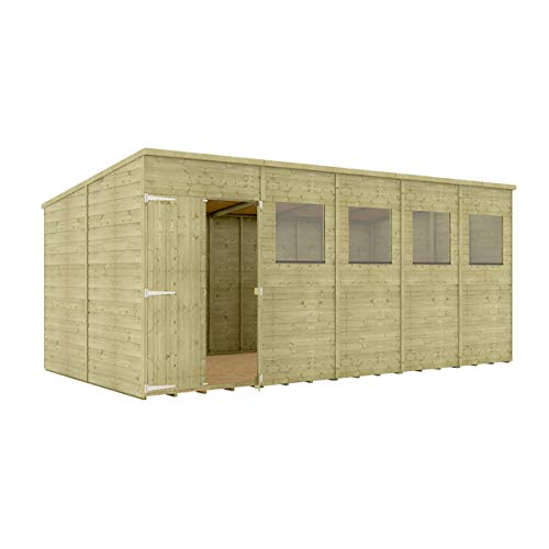 Project Timber 16 x 8 Pressure Treated Hobbyist Pent Shed Tongue & Groove Shiplap Cladding Construction Offset Door OSB Floor Wooden Garden Shed 4.87m x 2.43m