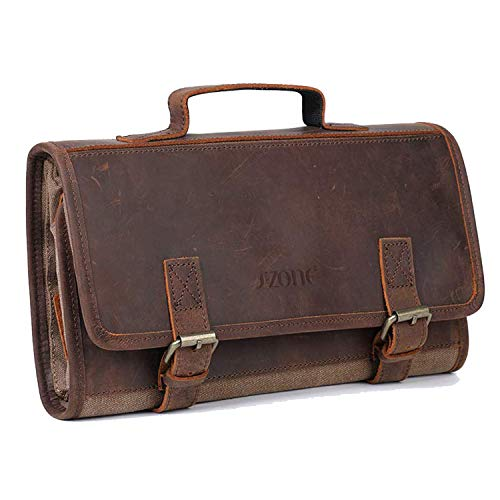 S-ZONE Mens Toiletry Organizer Bag Leather Travel Dopp Kit Hanging Case Great Gift Idea