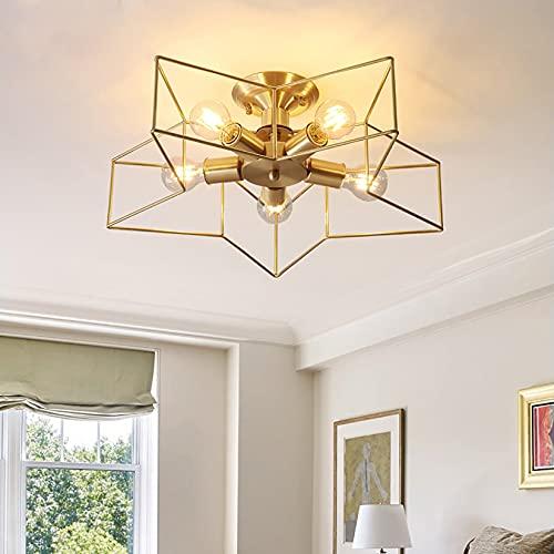 Personalidad Creativa Lámpara de Techo de Estrella de Cinco Puntas, 8 Pulgadas Nordic Modern Hierro Forjado LED Habitación para niños Sala de Estar Lámpara de Comedor, E27