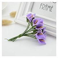 造花 12個ミニフォームカルタ手作り造花ブーケ結婚式装飾DIY花輪ギフトボックススクラップブッキングクラフト偽の花 (Color : Purple)