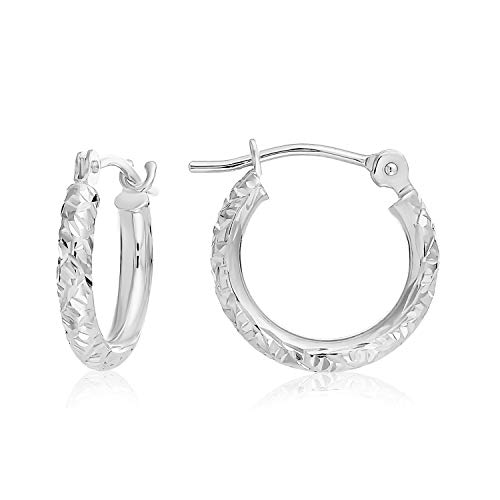 14k Gold Hand Engraved Diamond-cut Round Hoop Earrings, (0.5 inch Diameter) (white-gold)