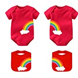 culbutomind Baby Zwillinge Body Double Rainbow All The Way Baby Birthday Shower Kleidung Baby Strampler Gr. 56, Red Sifenzhiyi Short Rainbow