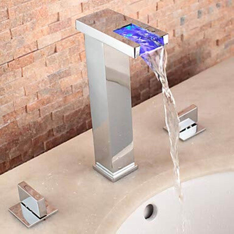 Mangeoo Waschbecken Wasserhahn - Chrom-Wasserfall Drei-Loch-Heizung Zwei Griffe Drei Badewannenarmaturen