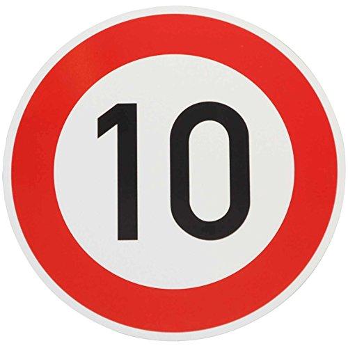 ORIGINAL Verkehrzeichen 10 KM/H Schild Nr. 274-51 Verkehrsschild Straßenschild Straßenzeichen Metall auch Gebutrtstagschild zum 10. Geburtstag als 10km Geburtstagsschild 42 cm Metall mit Folie-Typ1