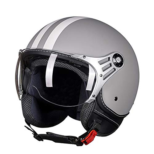 Casco Retro de Motocicleta de cara Abierta para hombres y mujeres, scooter,casco de jet de choque,casco de cabeza de locomotora masculina,medio casco de mujer,casco de verano de bicicleta(Color:Gray,S