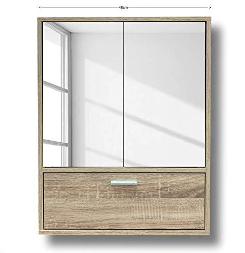 Cflagrant® - Armario de pared de baño o cuarto de baño, 2 puertas espejos y una puerta, color roble Dimensiones: 48 x 60 x 14,5 cm