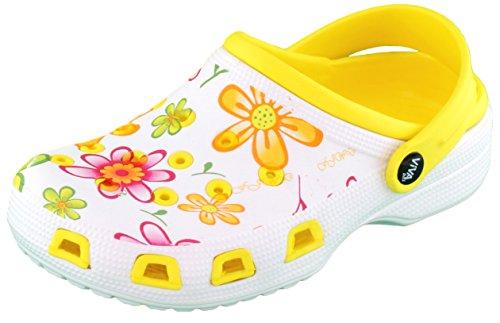 Brandsseller Damen Clogs Pantoffel Schuhe Gartenschuhe Hausschuhe - Farbe: Gelb/Weiß - Größe: 37 - Blumenmuster