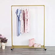Industrial Clothing Rack on Wheels, Boutique Display Clothes Rack with Shelf, Rolling Garment Rack for Retail Use (Gold)