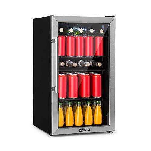 Klarstein Beersafe - Getränke-Kühlschrank mit Edelstahl-Front, Glastür, Mini-Kühlschrank, Energieeffizienzklasse: A+, 0 bis 10 °C, wechselbarer Türanschlag, 98 L, schwarz-silber