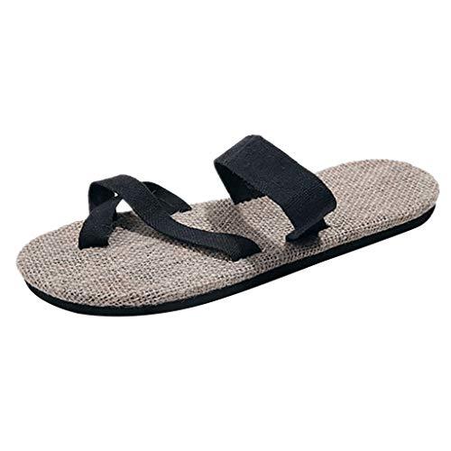 HEETEY Zapatillas de hombre para hombre, para el tiempo libre, cáñamo, antideslizantes, para la playa, para exteriores, deporte, para el jardín, para parejas, chanclas, color Negro, talla 41 EU