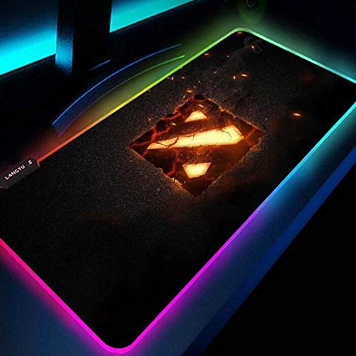 Mouse Pads Dota 2 Mouse Pad RGB Gaming Led Keyboard Mat Computer Carpet Backlight Table Game Gamer Pc Mat 35.43x15.74x0.15 inch