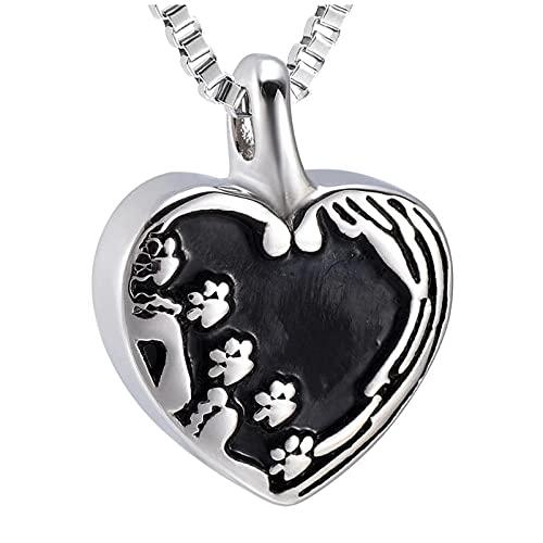 Wxcvz Collar para Cenizas Bebé En Mi Corazón Colgante Urna De Cremación Joyas para Hombres Collar Conmemorativo De Mascotas para Cenizas Collar De Corazón De Recuerdo De Acero Inoxidable
