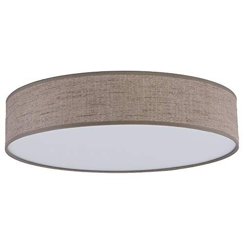 Schlichte zeitlose Deckenleuchte, Deckenlampe & Deckenlicht E27 Flur Schlafzimmer Wohnzimmer Braun Stoff Kunststoff