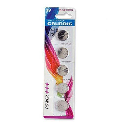 5x Grundig CR2032 3V Lithium Batterie Knopfzelle Uhren Knopfbatterie