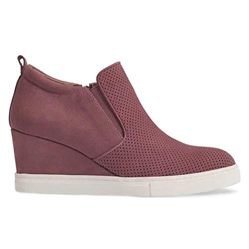 Minetom Damen Stiefeletten Plateau Wildleder Einfarbig Loafers Mokassins Plattform Halbschuhe Sneaker mit Keilabsatz Casual Bequem Schuhe B...